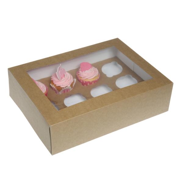 674 3 House of Marie House of Marie 12er Cupcake Box, mit Sichtfenster, Kraftpapier/braun