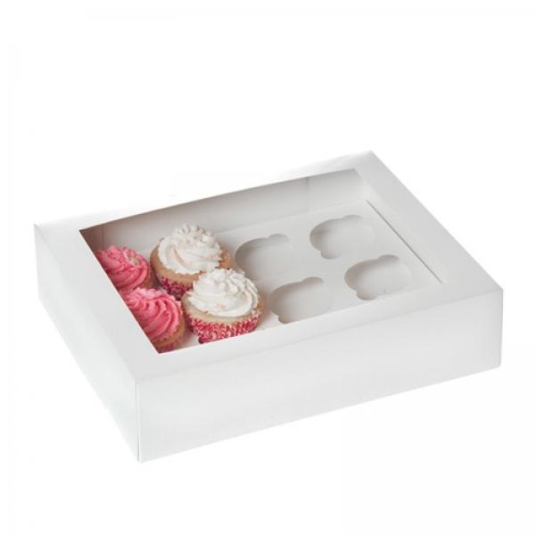 686 12er Cupcake Box Weiss Fenster House of Marie Geschenktüten & Verpackungen 12er Cupcake Box, weiß mit Sichtfenster