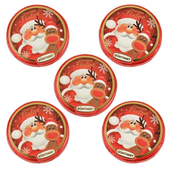 7631 Nikolaus Schokoladen Pralinen Taler Günthart Weihnachten 5 Pralinentaler, Nikolaus mit Rentier