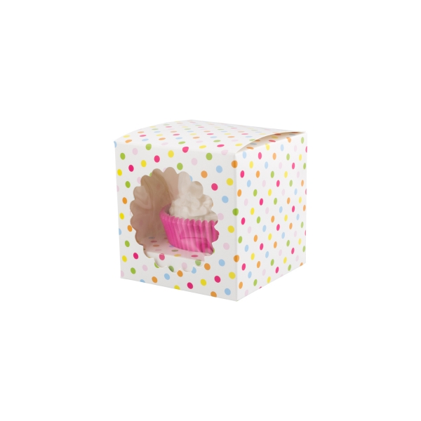 790 House of Marie Karneval / Fasching / Fasnacht 1er Cupcake Box Confetti, mit Sichtfenster