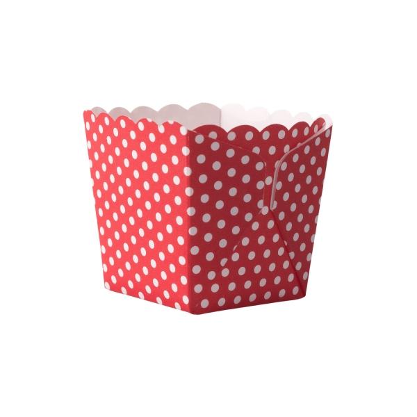 DEM 501 Backbox Snackbox Dips Fingerfood Demmler Demmler 12 Mini-Back & Snack Box Pünktchen weiß/rot, aufgestellt
