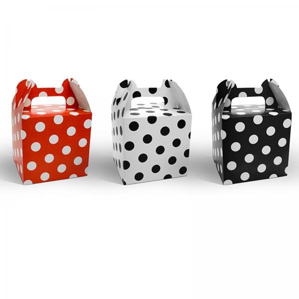 Geschenkbox Rot Weiss Schwarz Polkadot 507 23 partydeco Backwelt Sonne   Meer 12 Geschenkboxen, gepunktet, rot, weiß, schwarz