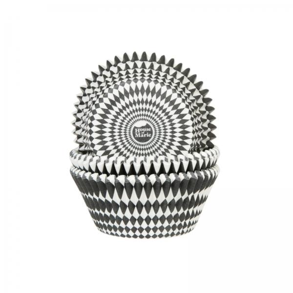 Harlekin Diamant Muffinform Schwarz Weiss 671 House of Marie Karneval / Fasching / Fasnacht Muffinförmchen Harlekin Muster, schwarz/weiß
