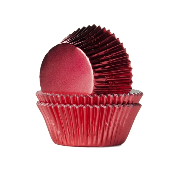 Metallic Muffin Cupcake Foermchen Rot 540 House of Marie Halloween 24 Muffinförmchen Metallic rot