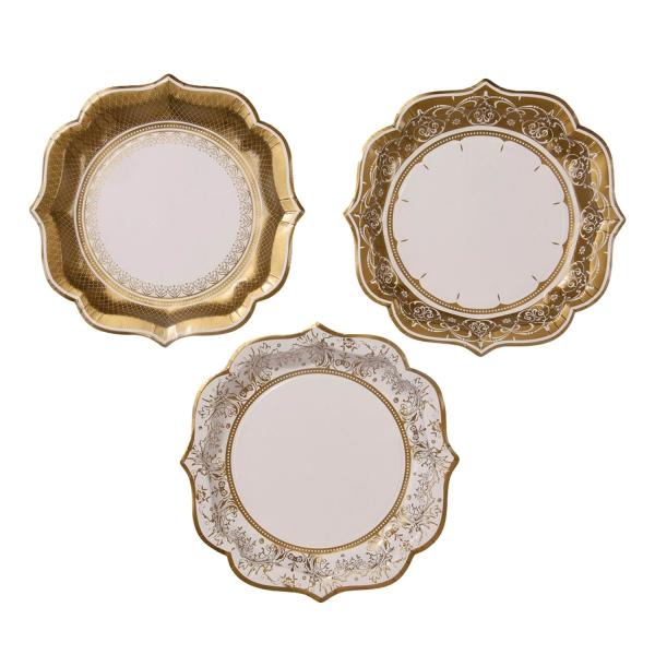 Party Pappteller Porzellan Gold 273 2 Talking Tables Neujahr 12 Mittelgroße Pappteller in Porzellan-Look, gold