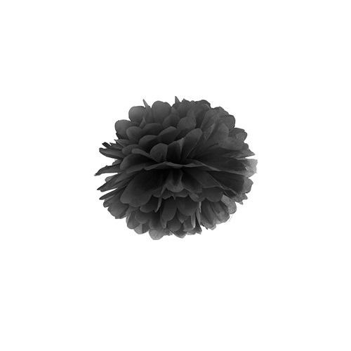 Pompom Schwarz Partydeko 508 3 partydeco Halloween 1 Pompom, schwarz, 25cm