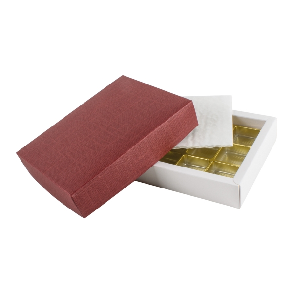 PRA 106 IDEE & WERK Geschenktüten & Verpackungen Pralinenschachtel 12er bordeaux strukturiert