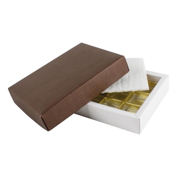 PRA 111 IDEE & WERK Geschenktüten & Verpackungen Pralinenschachtel 12er dunkelbraun strukturiert