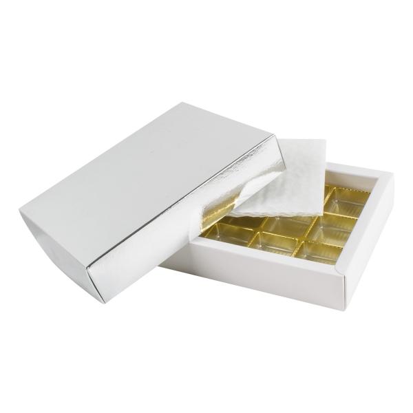 PRA 113 IDEE & WERK Geschenktüten & Verpackungen Pralinenschachtel 12er silber glänzend