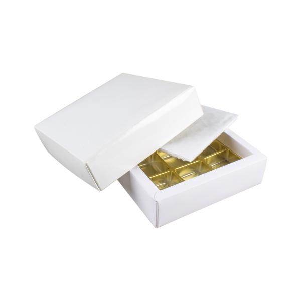 PRA 201 IDEE & WERK Geschenktüten & Verpackungen Pralinenschachtel 9er weiß glänzend