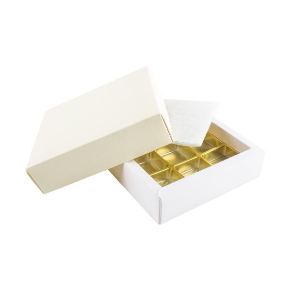 PRA 203 IDEE & WERK Geschenktüten & Verpackungen Pralinenschachtel 9er creme strukturiert