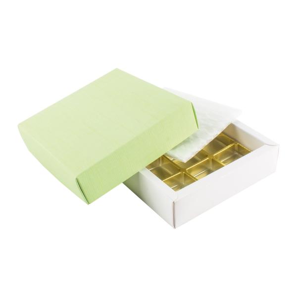 PRA 210 IDEE & WERK Geschenktüten & Verpackungen Pralinenschachtel 9er hellgrün strukturiert