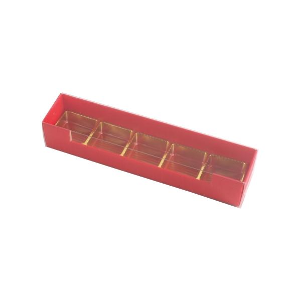 PRA 304 IDEE & WERK Geschenktüten & Verpackungen Pralinenstange 5er rot strukturiert