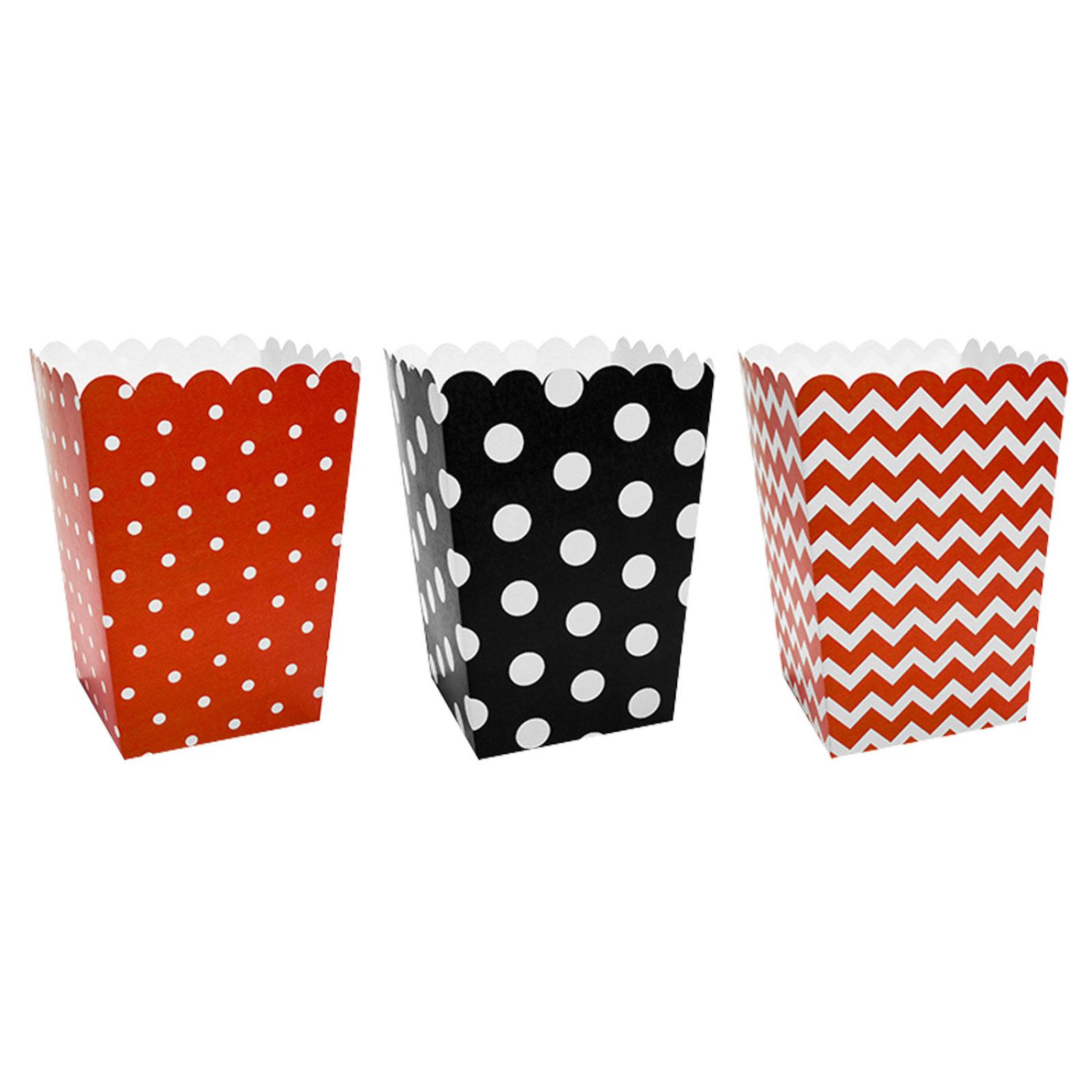 6 popcorn boxen gepunktet gestreift rot schwarz wei der ideen. Black Bedroom Furniture Sets. Home Design Ideas
