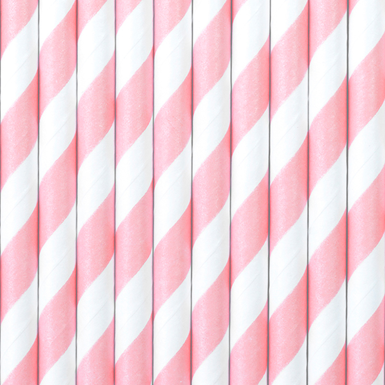 10 Strohhalme, rosa / weiß