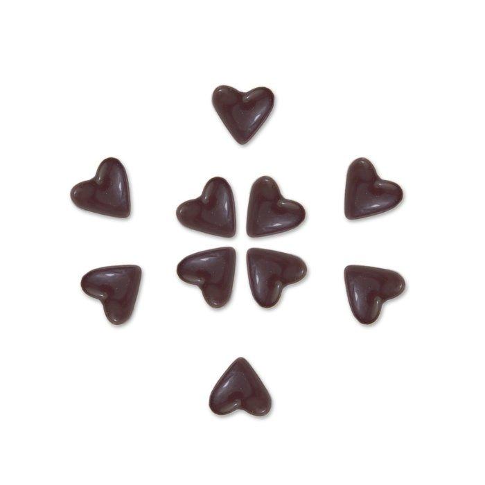 48 Herzen aus Zartbitter Schokolade