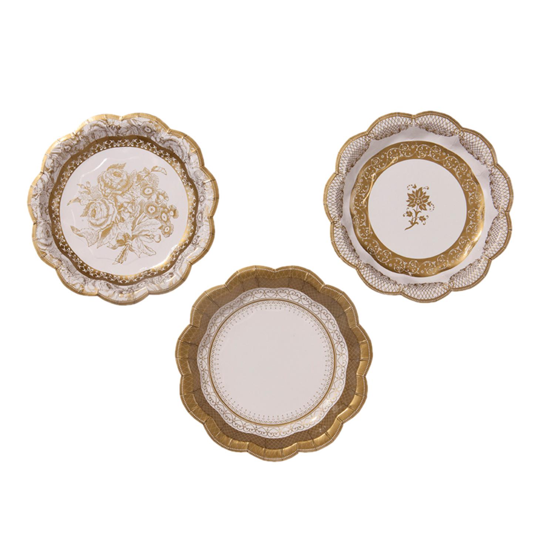 8 gro e pappteller in porzellan look gold der ideen for Pappteller gold