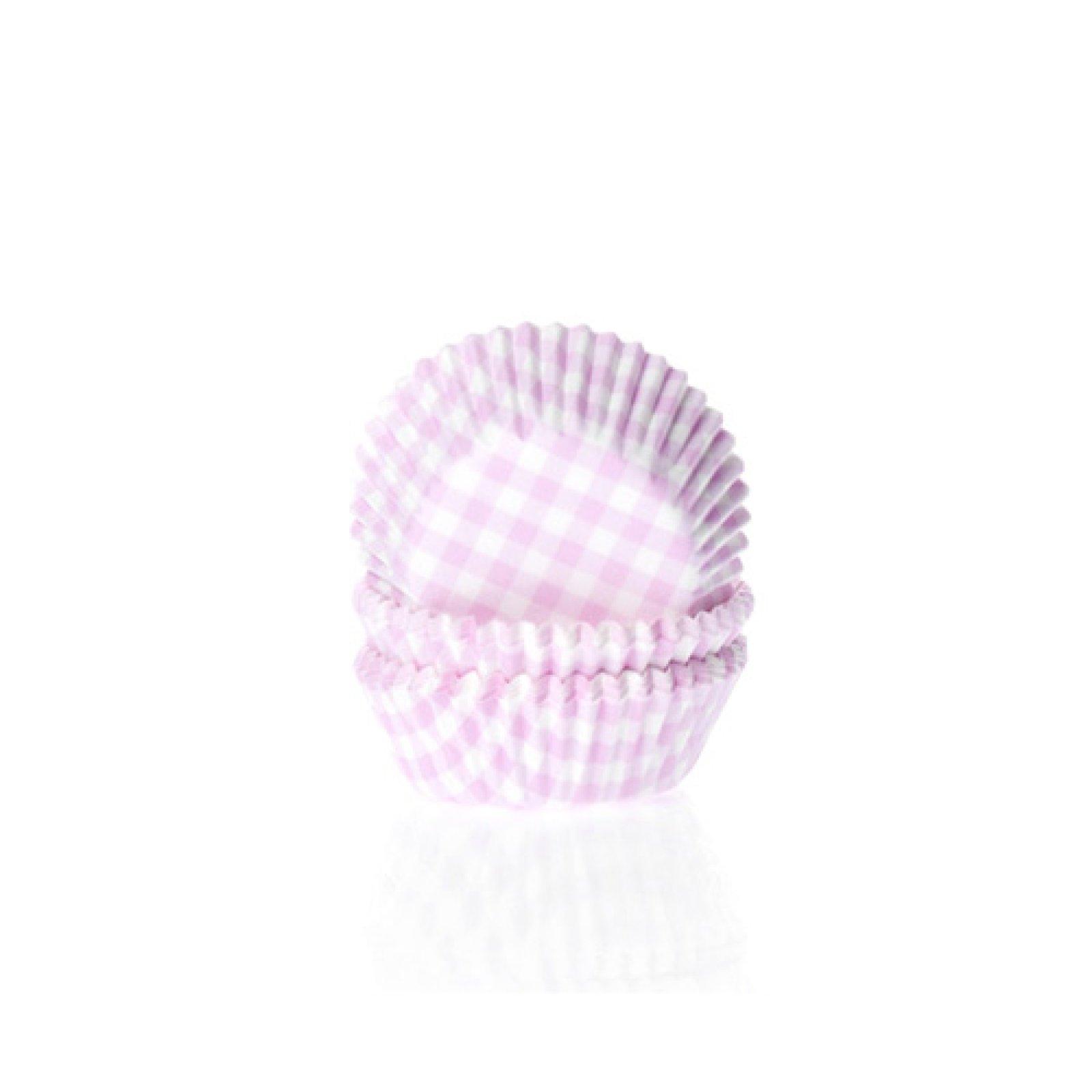 Mini Muffinförmchen, rosa weiß kariert