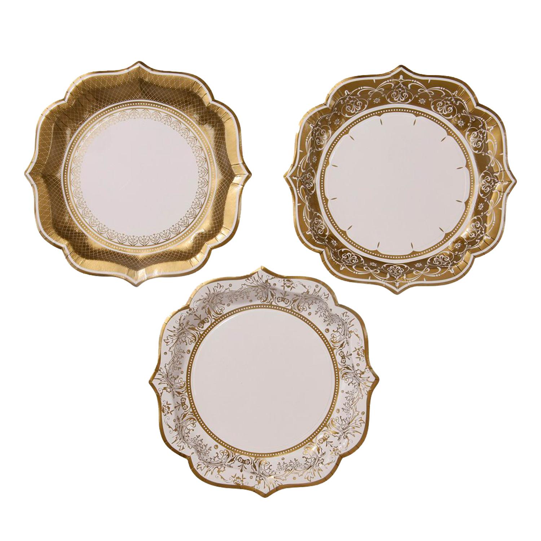 12 mittelgro e pappteller in porzellan look gold der for Pappteller gold