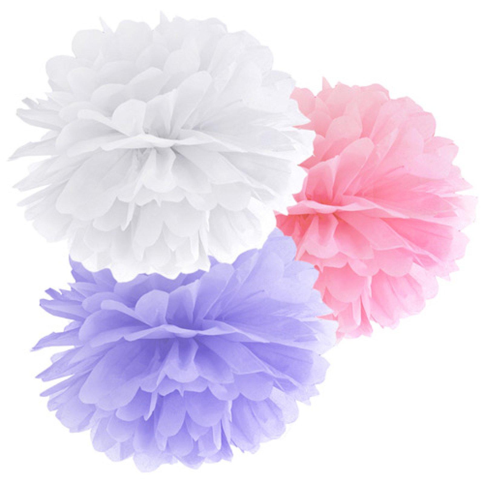 pompom set mit wei rosa und flieder farben der ideen. Black Bedroom Furniture Sets. Home Design Ideas